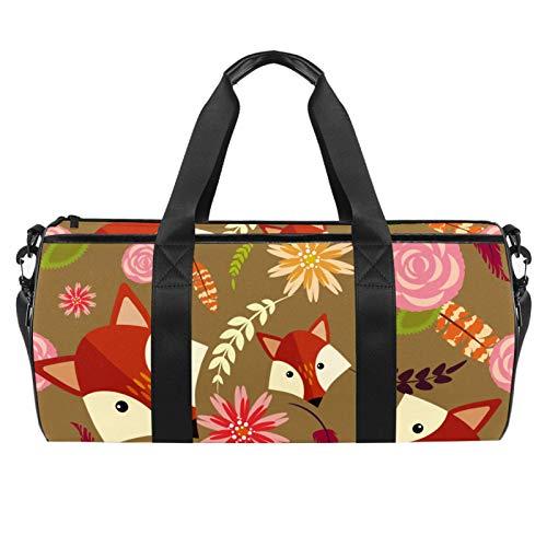 45,7 cm Sport-Turnbeutel, Reisetasche mit Nassfach für Männer und Frauen, leicht, Fuchs, Hed Gelb Rosa Blumen bunt
