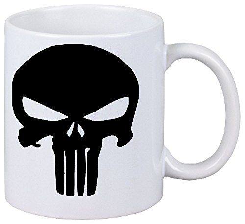 Kaffeetasse Motiv Nr. 2961 Punisher Panikmacher Caos Skull Game Keramik Höhe 9,5cm ⌀ 8cm in Weiß
