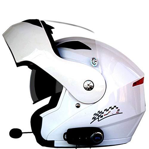 Bluetooth Casco Moto Modular Casco de Motocicleta Bluetooth integrada ECE Homologado Modular de Cara Completa abatible Casco de Moto con Doble Visera