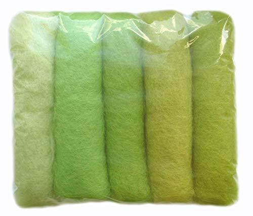 SIA COLLA-S L'ensemble de Nuances de la Laine pour Feutrage, Mix Couleurs Vert Clair Light Green, 5 Couleurs Différentes Minimum, 50g.