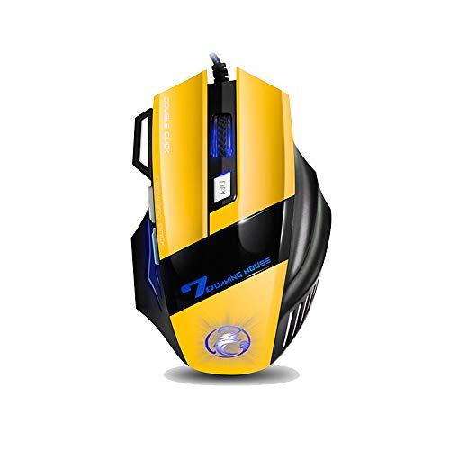 gaming Muis hoge prestaties 7 kleur RGB LED lichten Hoge precisie richten 4 verstelbare DPI 7 knop USB-kabel Optische PC laptop compatibel Geel
