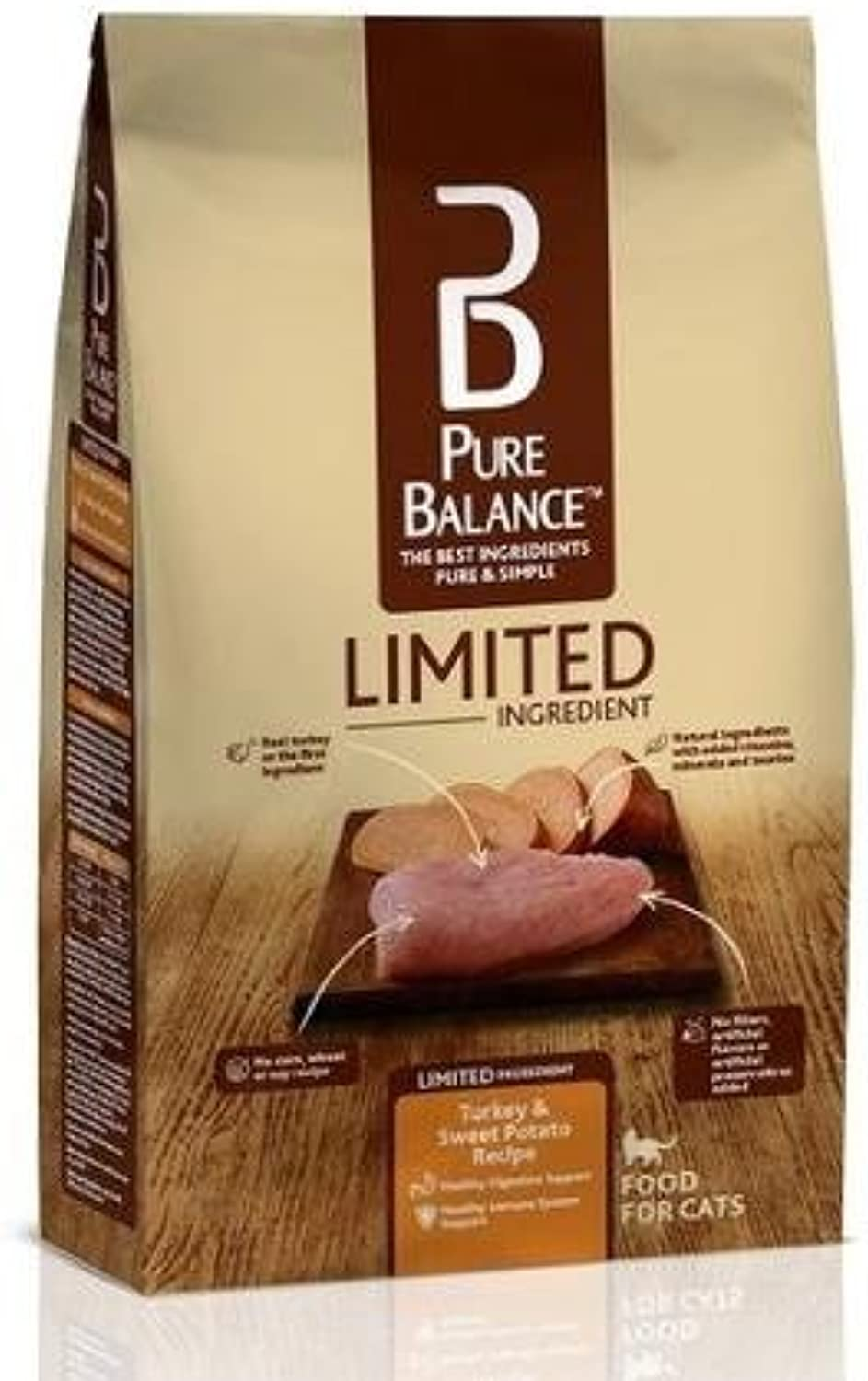 Pure Balance Limited Ingredient 12 Lbs Bag Turkey & Sweet Potato Cat Food, Super Premium Recipes Contains No Corn, Wheat or Soy, 1st Ingredient Is Real Turkey, Build Lean Muscle Mass to Run Jump Play