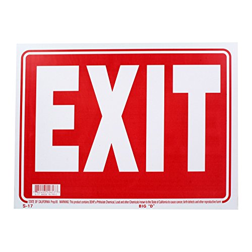 Bazic Small Exit Sign (9 x 12 inches) Bazic Exit Sign, Pack of 3