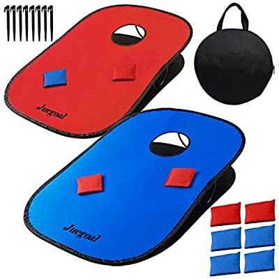 Juegoal 3x2ft Collapsible Portable Cornhole Game Set with 2 Cornhole Boards, 10 Bean Bags, Carrying Bag, and Tic Tac Toe Game Indoor Outdoor Yard Toss Game by Juegoal