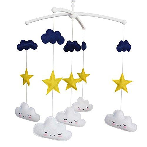 Étoile et Nuage bébé Musical Mobile Chambre d'enfant décoration Bleu Nuit lit Mobile pour garçons et Filles