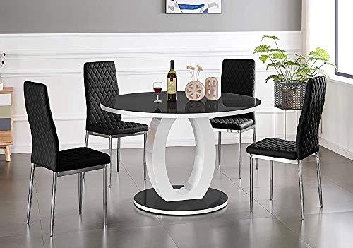 Modernes Mode rundes Glas-Esstisch mit vier Stühlen, 100cm,Dining Table 4 Black Milan Chairs