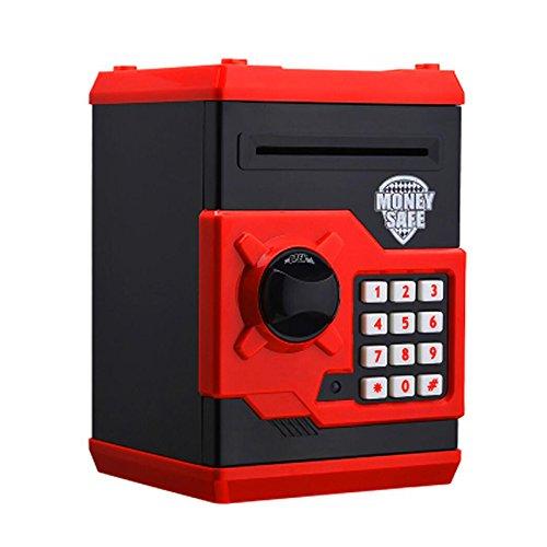 Senmubery Hucha de cerdito cajero automático con contraseña electrónica, para masticar moneda, dinero en efectivo, máquina de depósito para niños, color negro