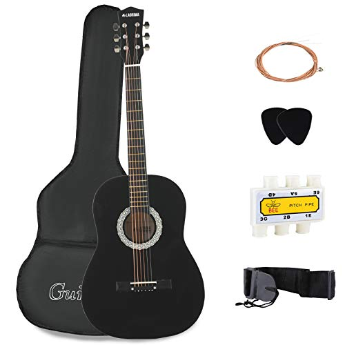 LAGRIMA 38' Acoustic Guitars, Natural 6 Steel Strings Youth Kids Guitars with Nylon Bag,Tuner, Picks, Strap for Beginners, Adults Black