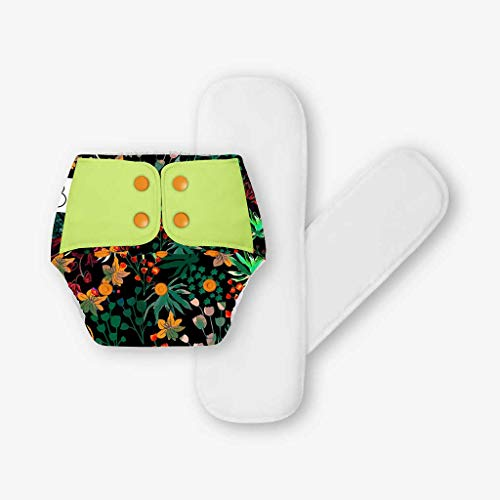 SuperBottoms Freesize UNO - Washable & Reusable Cloth Diaper + 2 Organic Cotton Dry Feel Regular Pads Set [Day & Night Use] (for Babies 5 KG- 17 KG)- Shrubbery
