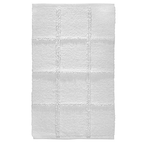 Price comparison product image iDesign Grid Bathroom Mat,  Rectangle-Shaped Small Rug Made of Cotton,  White,  53.3 cm x 86.4 cm