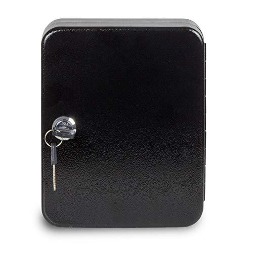 nxtbuy Schlüsselkasten inkl. Schlüsselanhänger abschließbarer Schlüsselschrank zum Aufhängen Schlüsselbox mit Zylinderschloss, Farbe:Schwarz, Größe:20 Haken