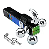 KAITWOSON 52012 Trailer Hitch Ball Mount with Hook, 2 Inch Receiver, Hollow Shank Tow Hitch, Black & Chrome Ball Hitch,with Trailer Pin and Clip
