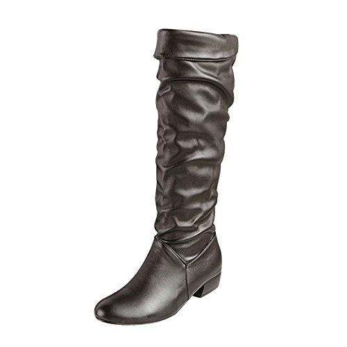 YWLINK Damen Winter Klassisch Elegant Overknees Langschaft Stiefel Hohe Stiefel RöHre Flache Niedrige Ferse Reitstiefel(38.5 EU,Schwarz)