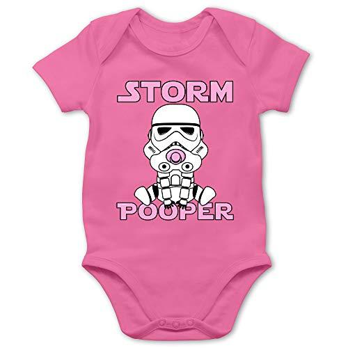 Sprüche Baby - Storm Pooper Mädchen - 3/6 Monate - Pink - das Wars Body - BZ10 - Baby Body Kurzarm für Jungen und Mädchen