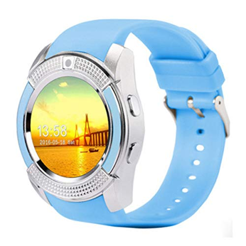 Topsale-ycld V8 Reloj Inteligente Bluetooth SIM gsm Tarjeta Fitness Podómetro para iOS Android (Color : Azul)