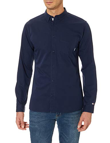 Camisa Tommy Jeans Solid Twill Marino Hombre