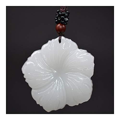 FKJSP Collar De XinJiang Jade Blanco Flor del Hibisco Colgante, Collar De Jade Amuleto De Piedra con La Cadena For Hombres Mujeres