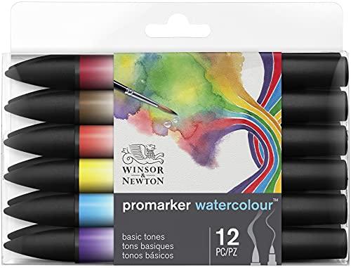Winsor & Newton 290165 Promarker Watercolor Marker, Set of 12, Basic Tones 12 Count