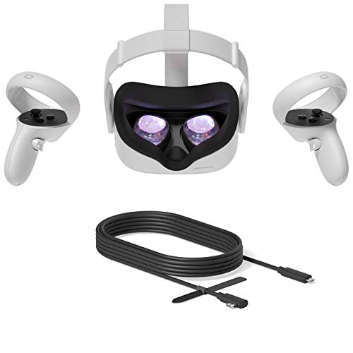2020 Oculus Quest 2 All-In-One VR Headset, Touch Controllers, 64GB SSD, 1832x1920 up to 90 Hz Refresh Rate LCD, Glasses Compitble, 3D Audio, Mytrix Link Cable (3M)