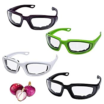 Milkary 4 Pieces Onion Goggles Glasses Anti-Fog No-Tears Kitchen Onion Glasses with Inside Sponge Onion Cutting Eye Protector for Women Men Cooking Tearless Dust-proof BBQ Grilling