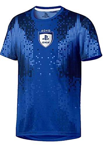 Sony Playstation-8-Bit Esports-Hombre Oficial Camiseta de Fútbol - Azul, L