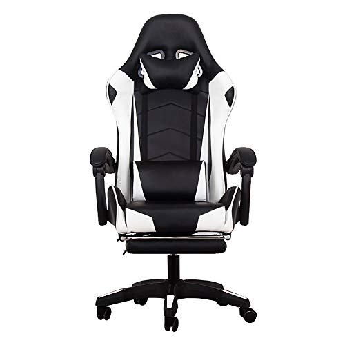 Computer Stuhl Home Office Stuhl E-Sports Spiel Racing Chair Reclining Lift Chair-White-Footrest