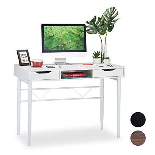 Relaxdays Schreibtisch mit Schubladen und Ablage, modern, Metallgestell, Büroschreibtisch HBT: 77 x 110 x 55 cm, weiß, PB