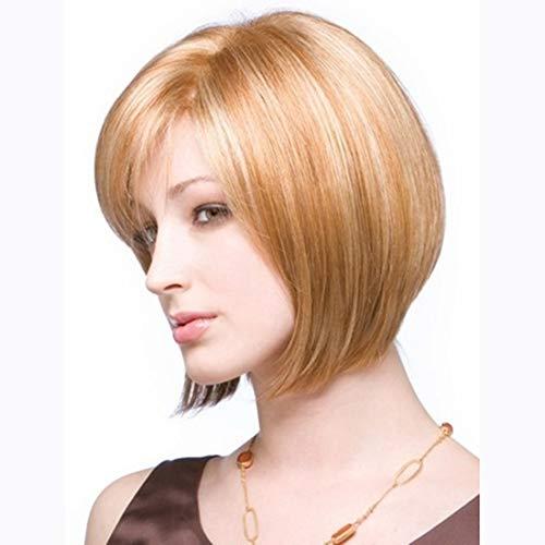 Dames Pruik Elegant korte bob Met Oblique Bangs Brown Mixed Rose Net Hoofddeksels Cosplay partij Kort haar pruik 10 inchs (Color : Golden brown)