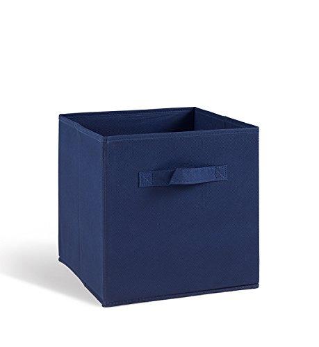 PEGANE Lot de 4 tiroirs de Rangement en Tissu Bleu, 27x27x28cm