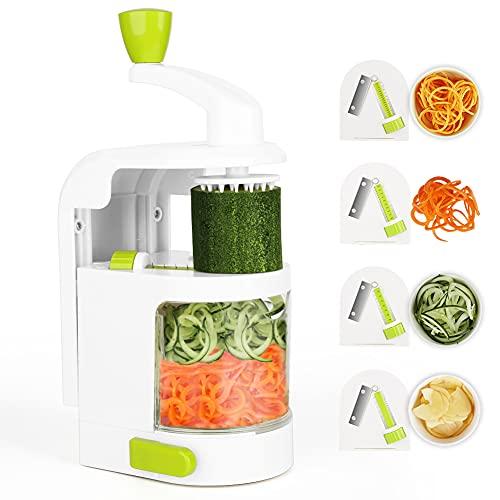 Espiralizador vegetal, Cortador de Verduras MultiFunción de Alimentos 4 Cuchillas, Espiralizador de Picar Frutas, Verduras, Zanahorias, Cebollas, para la Salsa, Ensalada