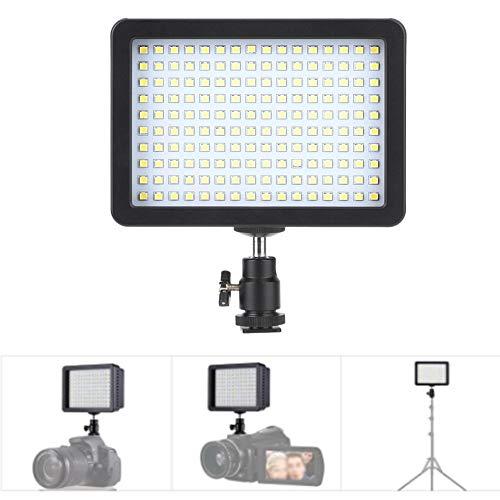 Topiky LED-videolamp, 160 bolletjes dimbaar 3200K-5600K CRI 85+ videostudio-vullamp met kogelkop en 3-kleurenfilter voor live overdracht van opnamegesprekken.