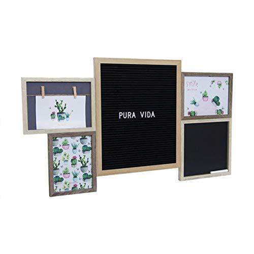 Vidal Regalos Marco de Fotos Multifotos Colgante Pared con Panel Letras y Pizarra Portafotos Multiple Mensaje Personalizado 73 cm