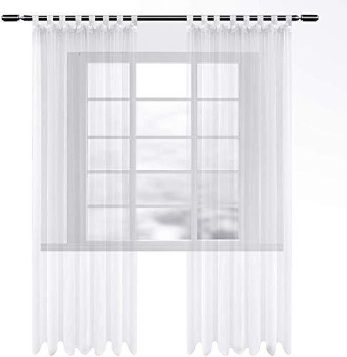 WOLTU VH6063ws-2, Gardinen transparent mit Schlaufen 2er Set, Stores Vorhang Schal Voile Tüll Wohnzimmer Schlafzimmer Landhaus, Weiss 140x145 cm