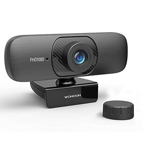 WOHOOH Webcam mit Mikrofon und Datenschutz, 1080P HD USB Webkamera mit Stativ, Streaming-Webcam für Live-Streaming, Videoanrufe, Online-Unterricht, Konferenz, Spielen, HD-Webcam mit festem Fokus