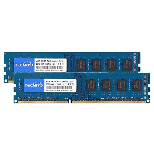 TECMIYO 8GB Kit (2 x 4GB) PC3-10600U DDR3 1333MHZ DIMM DDR3-1333 UDIMM 2RX8 Dual Rank CL9 1,5V 240 Pin ungepufferter Nicht-ECC Udimm-Desktop-Speicher RAM für Intel AMD-System