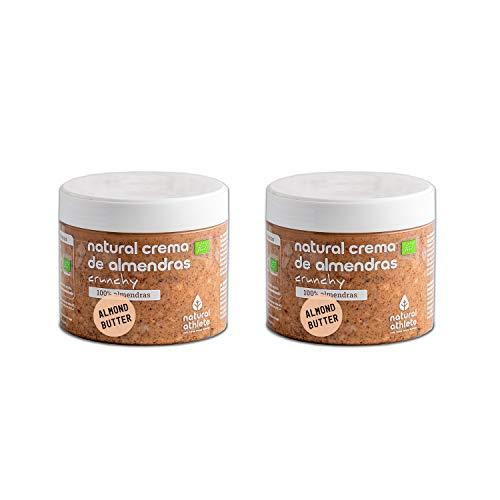 Crema de Almendras Crunchy Natural Athlete 100% Almendras, Sin Azúcar, Sin Aceite de Palma y Sin Gluten - Pack 2x300 g
