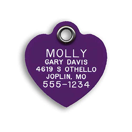 LuckyPet Pet ID Tag - Purple Plastic Heart - Custom Engraved Dog Tags & cat Tags. Durable, Easy to...
