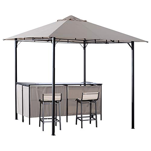 Outsunny 8' x 8' 3-Piece Patio Bar Set with Gazebo Canopy 2 Bar Stools and Bar Table with Storage Shelf for Poolside, Backyard, Garden