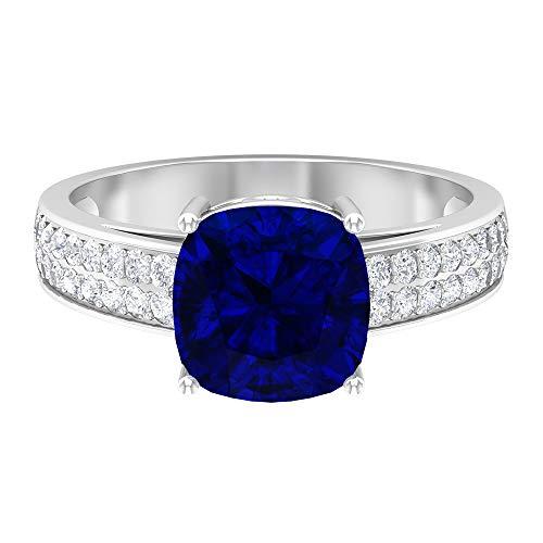 Anillo de aguamarina y moissanita 2,95 quilates, anillo solitario con piedras laterales, anillo de compromiso de oro (8,5 mm corte cojín aguamarina), 14K Oro blanco, aguamarina, Size:EU 47