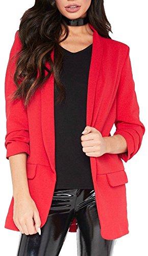 Red Olives New Ladies Frill Ruffle 3/4 Sleeve Duster Coat Women Jacket Blazer UK 8-26 (Red, 16-18)