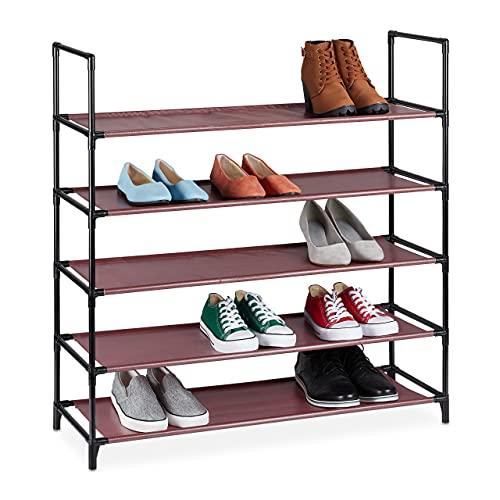 Relaxdays Zapatero XL, 5 Niveles, para 20 Pares de Zapatos, plástico, 90,5 x 87,5 x 30 cm, Color Burdeos