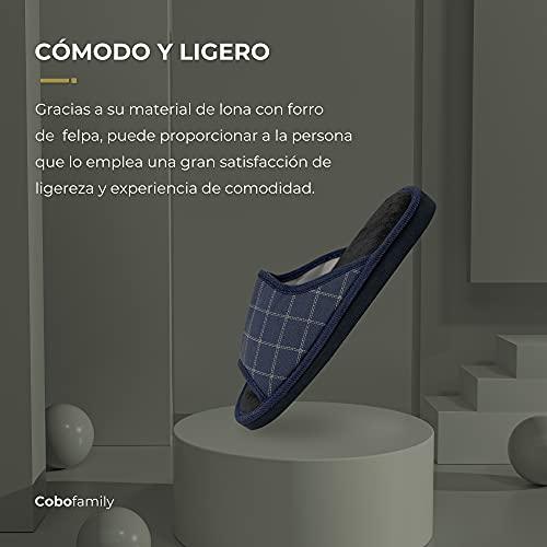 CoboFamily Zapatillas de Estar por Casa Hombre Verano, Zapatillas de Punta Abierta con Suela Goma EVA AD-J2117 Marino 43(Marino, Numeric_43)