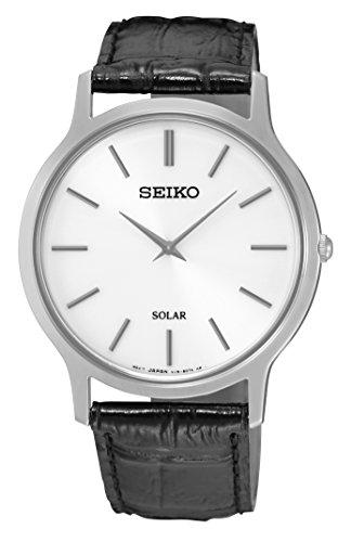 Seiko Solar Herren-Uhr Edelstahl mit Lederband SUP873P1