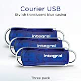 Integral 64GB 3-pack USB Memory 2.0 Flash Drive Courier Blue
