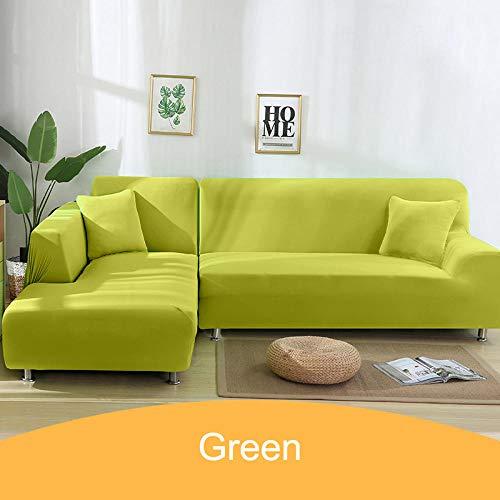 Beschermende stoffen bankhoes,Hoes effen kleur hoekbank, 1 2 3 4-zits dierenhoes - 16-Green_3-seater_195-230cm