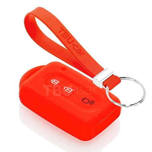 TBU car Funda Carcasa Llave Compatible con Nissan - Funda de Silicona - Cover de Llave Coche - Rojo