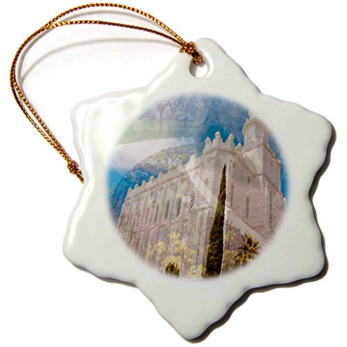 VinMea A Double Exposure of The St. George, Utah LDS Temple and The Flower Bed and Walk Way Snowflake Porcelain Ornament, Christmas Ornament Keepsake