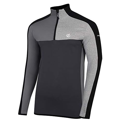 Dare 2b Herren Depose Core Stretch Lightweight Quick Drying Half Zip Top Dehnbare Mittelschicht, Schwarz/Ebenholzgrau, Größe S