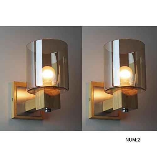 Slaapkamer Armaturen Nordic Modern Amber-color Glass Lampshade Handgemaakte gepolijst hout Muur Lamp Nordic Design hotel Model Bedroom Bedroom Bedside Licht van de Muur (aparte/A Pair) Wandlamp Verl