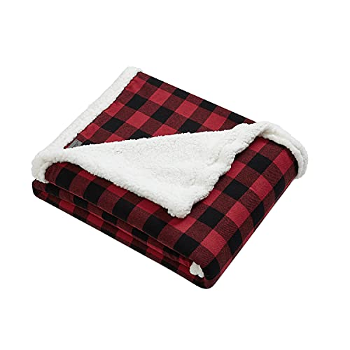 Eddie Bauer Home   Flannel Collection   Throw Blanket-Reversible Sherpa Fleece Cover, Soft & Cozy, Perfect for Bed or Couch, Cabin Red